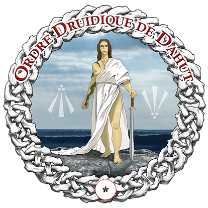 Druidisme : logo de l'Ordre Druidique de Dahut. Dahut tient l'épée de souveraineté.