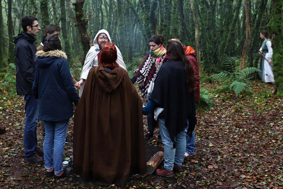 Druidisme : on voit un gorupe de personnes en cercle se tenant par la main, au cours d'une cérémonie druidique de l'Ordre Druidique de Dahut, dans une forêt.