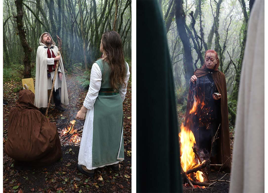 Saison sombre : à gauche une photo où nous voyons un barde, prêtre de l'Ordre, en train d'évoquer devant le feu Belenos, Maître des étoiles. A droite une autre photo montre la Prêtresse du Cornu alimentant le feu de Neved, Tanna, avec du sel.