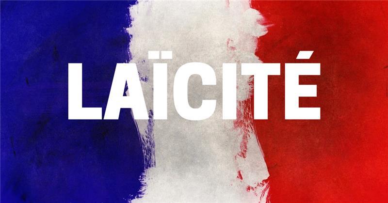 """communiqué. Mot """"Laïcité"""" sur drapeau bleu blanc rouge"""